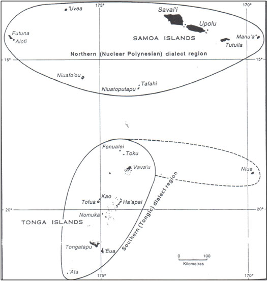 Figure 2: The northern and southern dialects of pre-Polynesian, showing the inclusion of Futuna, 'Uvea and Niuatoputapu in the Nuclear Polynesian dialect region (courtesy A. Pawley).